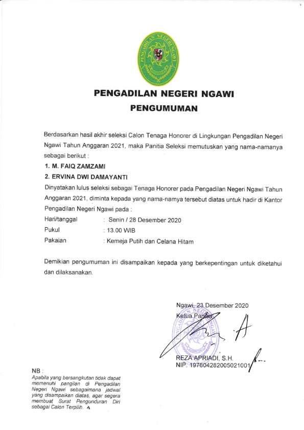 Pengumuman Kelulusan Calon Tenaga Honorer PN Ngawi