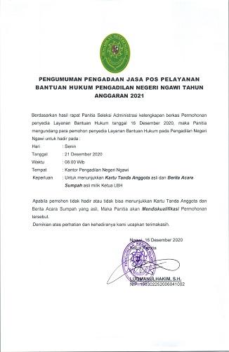 Pengumuman Pengadaan Jasa Pos Bakum 2021